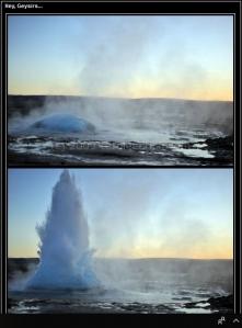 Screen grab of Icelandinc geysir at different stages, (c) Carole Edrich 2009