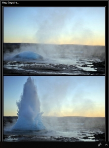Screen grab of Icelandinc geysir at different stages, (c) Carole Edrich 2009