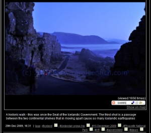 Passage between two continental shelves at Thingveller National Park, (c) Carole Edrich 2009