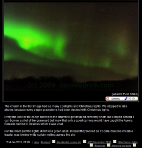 Screen grab of my moblog post of the aurora borealis in Iceland, (c) Carole Edrich 2009