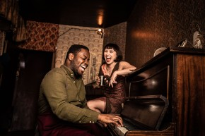 Tendai Humphrey Sitima & Hannah Edwardsin The Great Gatsby, Immersive London. (c) Helen Maybanks